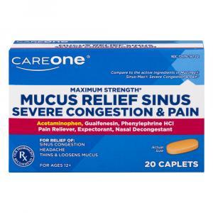 CareOne Maximum Strength Sinus Relief Caplets