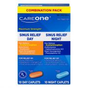 CareOne Maximum Strength Sinus Relief Day Night Caplets