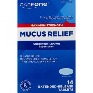 CareOne Mucus Relief Maximum Strength 1200mg Tablets