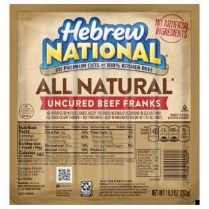 Hebrew National All Natural Uncured Beef Franks
