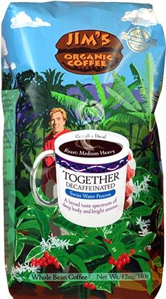Jim's Organic Coffee Together Decaffeinated Whole Bean