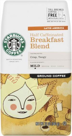 Starbucks Half Caffeinated Breakfast Blend Coffee