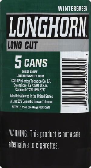 Longhorn Long Cut Wintergreen Chew Tobacco