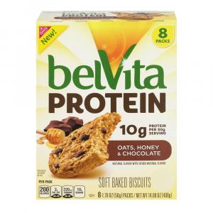 BelVita Protein Oats, Honey, & Chocolate Soft Baked Biscuits